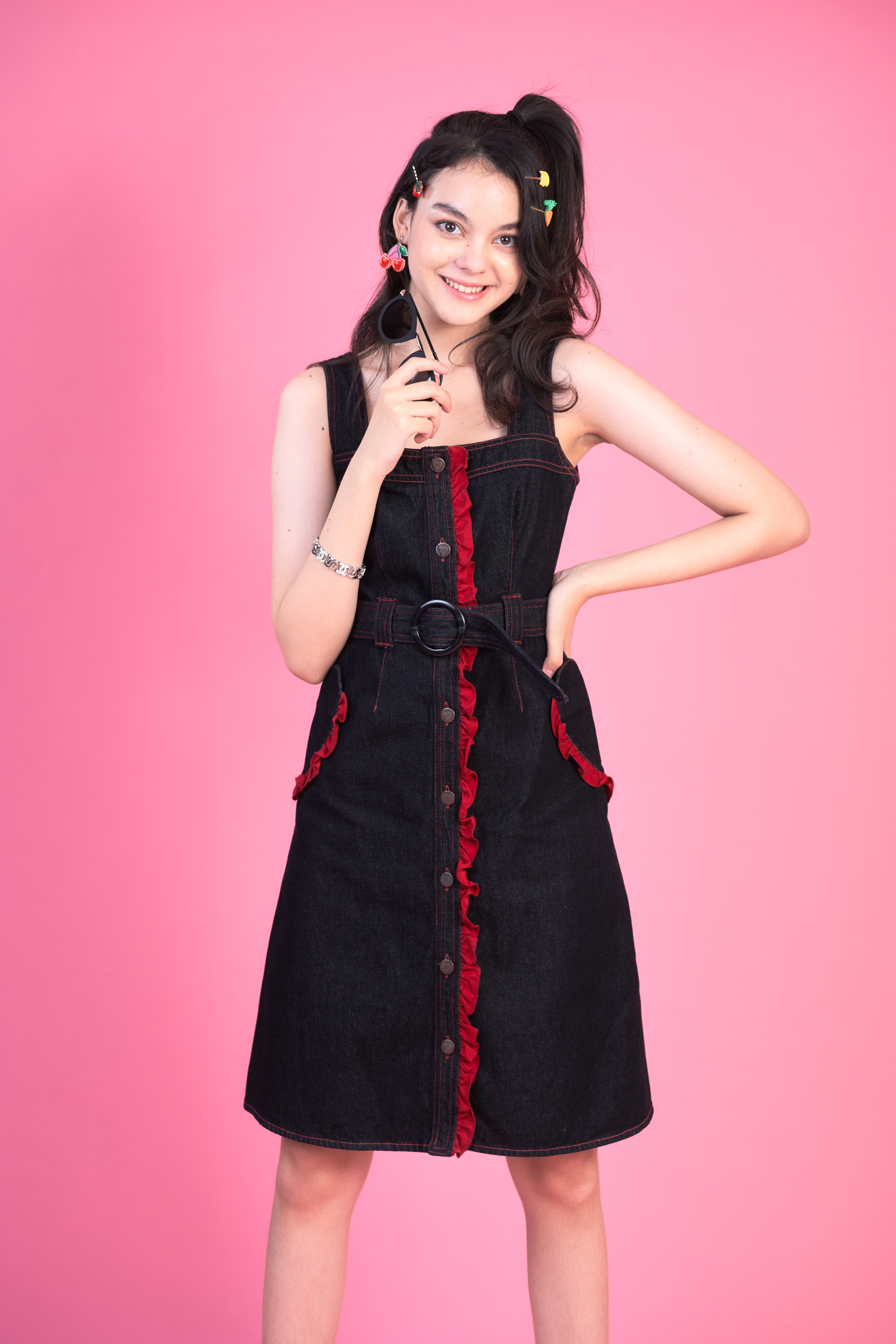 STR06 - WISH UPON A STAR DENIM RUFFLE FRONT BUTTON DRESS - IN STOCK NOW