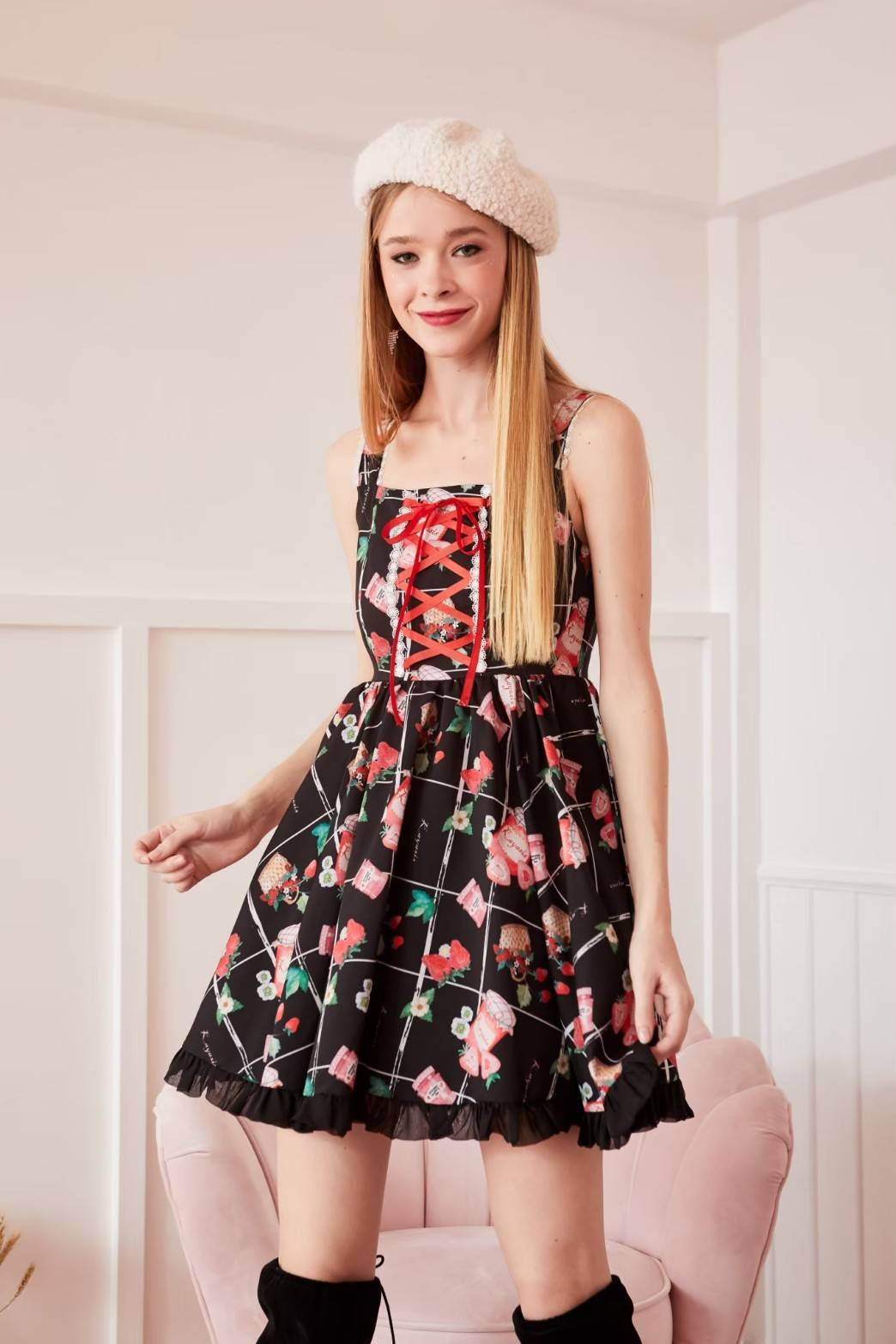 STW02 MY STRAWBERRY VOLUME SKIRT DRESS IN STOCK NOW