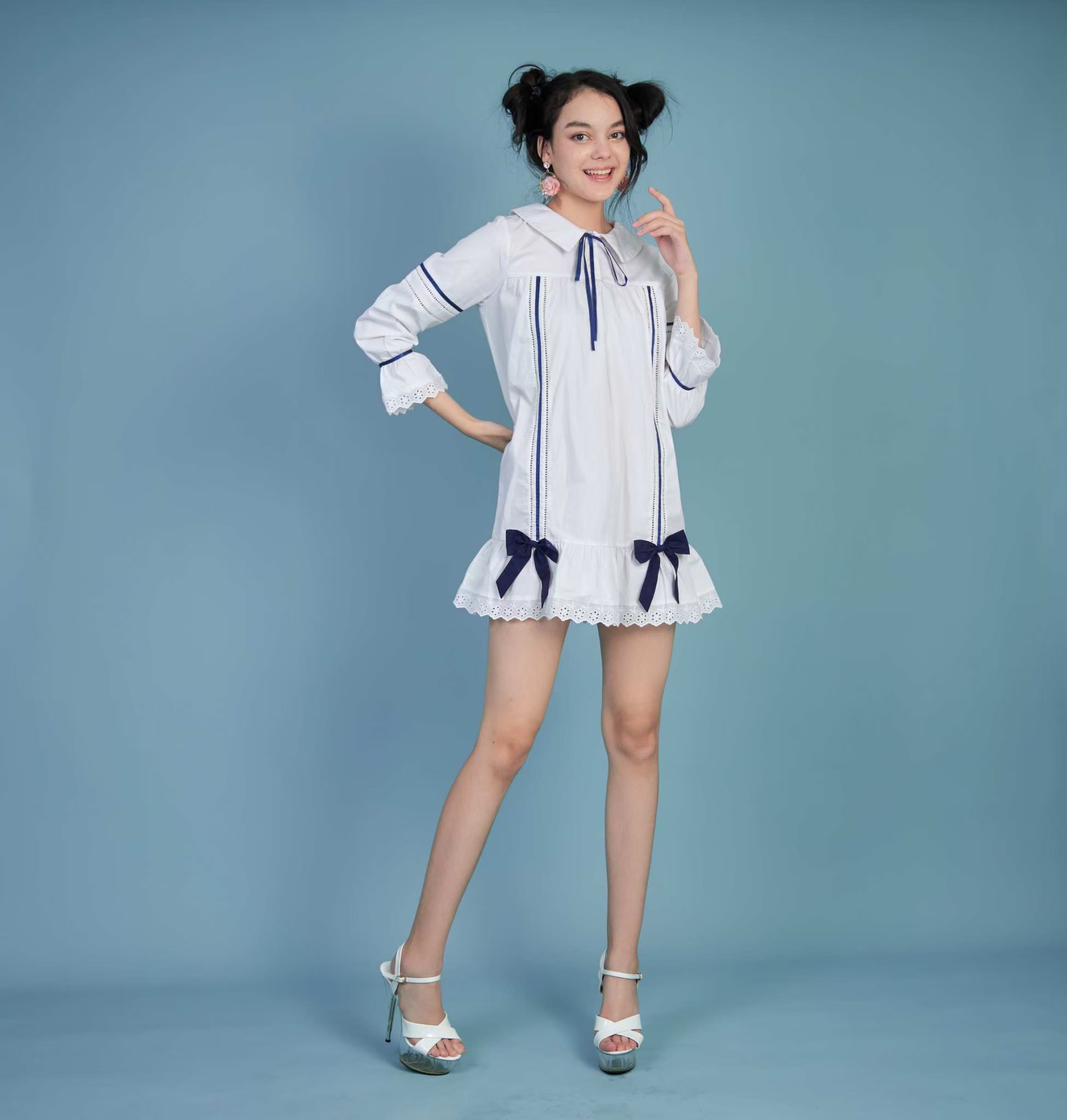 KYS063 Volume Bow-Tied Long Sleeve with lace dress - In Stock 31st Aug