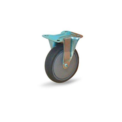ลูกล้อยางเทา ป้องกันไฟฟ้าสถิตย์รับน้ำหนัก 100-150 กก. แบบแป้นตาย