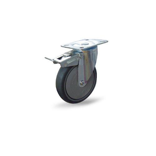 ลูกล้อยางเทา ป้องกันไฟฟ้าสถิตย์รับน้ำหนัก 100-150 กก. แบบแป้นเบรก ยี่ห้อ Pareo
