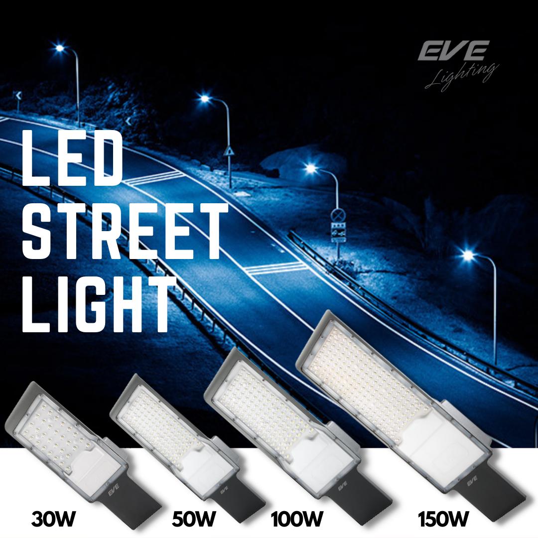 LED Street Light Fly โคมถนนแอลอีดี ติดกำแพง ริมรั้ว รุ่น Fly แสงแสงขาว พร้อมขายึดในกล่อง ขนาด 30, 50, 100 และ 150 วัตต์