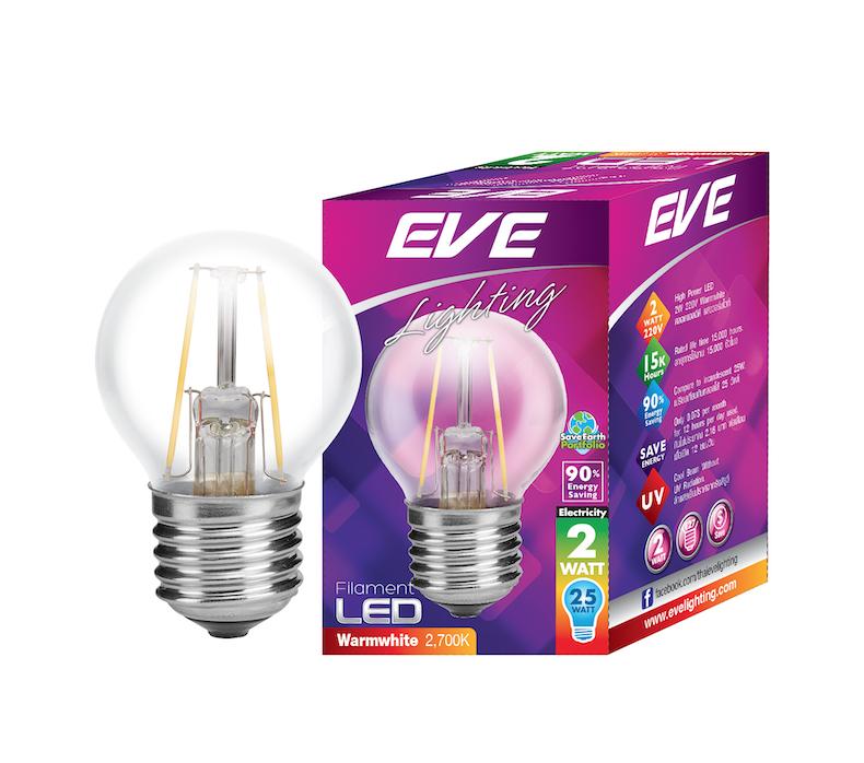 LED Filament Round 2w Warmwhite E27