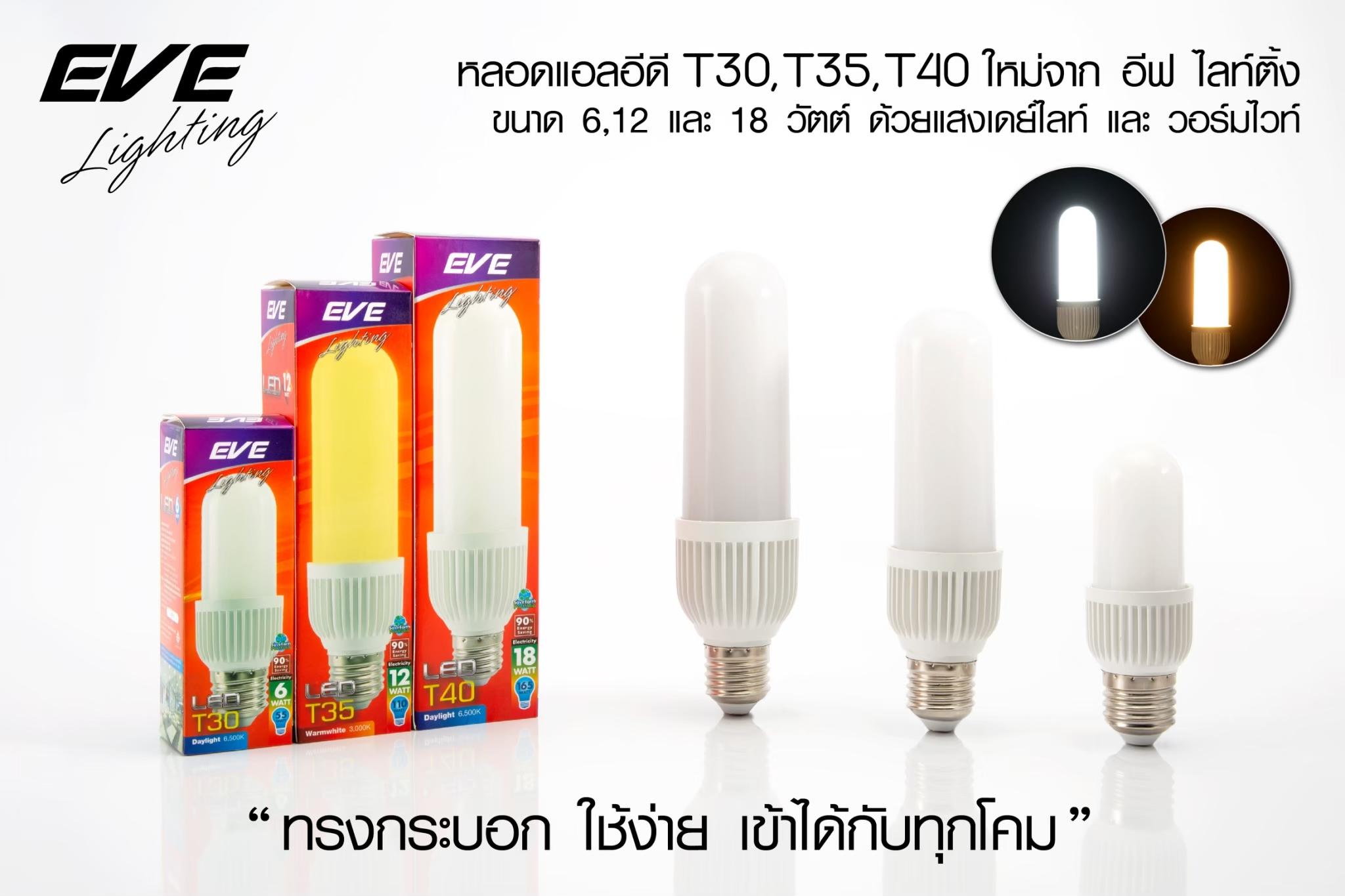 LED T30 E27 หลอดแอลอีดี T30 ขนาด  6-18 วัตต์ แสงขาวและแสงเหลือง (35,000 ชั่วโมง) แสงออกรอบตัวใช้แทนหลอดประหยัด