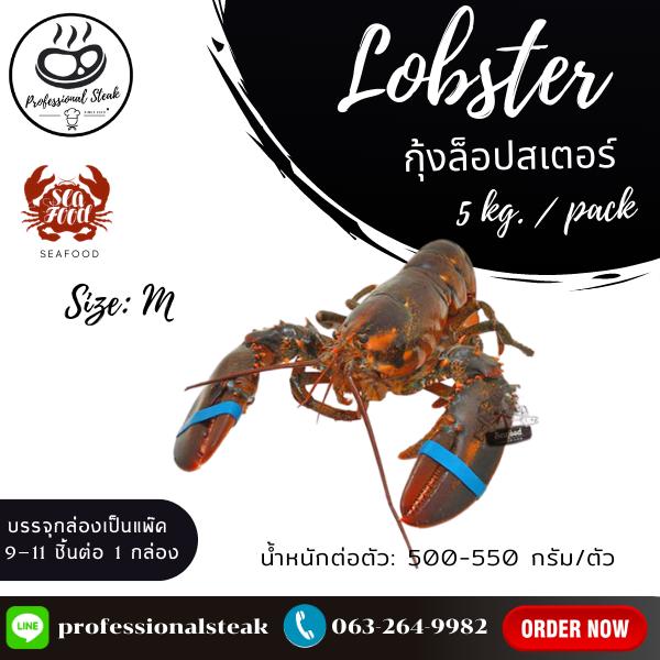 กุ้งล๊อบสเตอร์ทั้งตัวดิบ (Lobster) (500-550G/PC, 5 KGS./CTN)