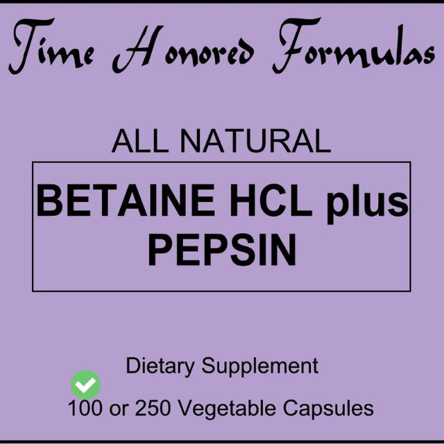 เปปซิน อซิโดว Betaine HCL Plus Pepsin (Acidoll) 100 Caps. (วิตามินตามสูตรของเกอร์สัน)