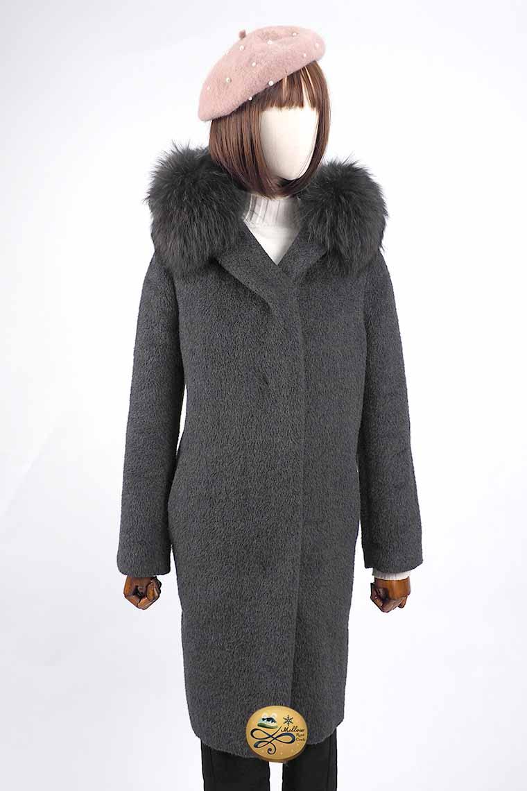เช่าเสื้อโค้ทผู้หญิง รุ่น  Fur Obsidian Wrap Coat  905GCL442FABKXL1