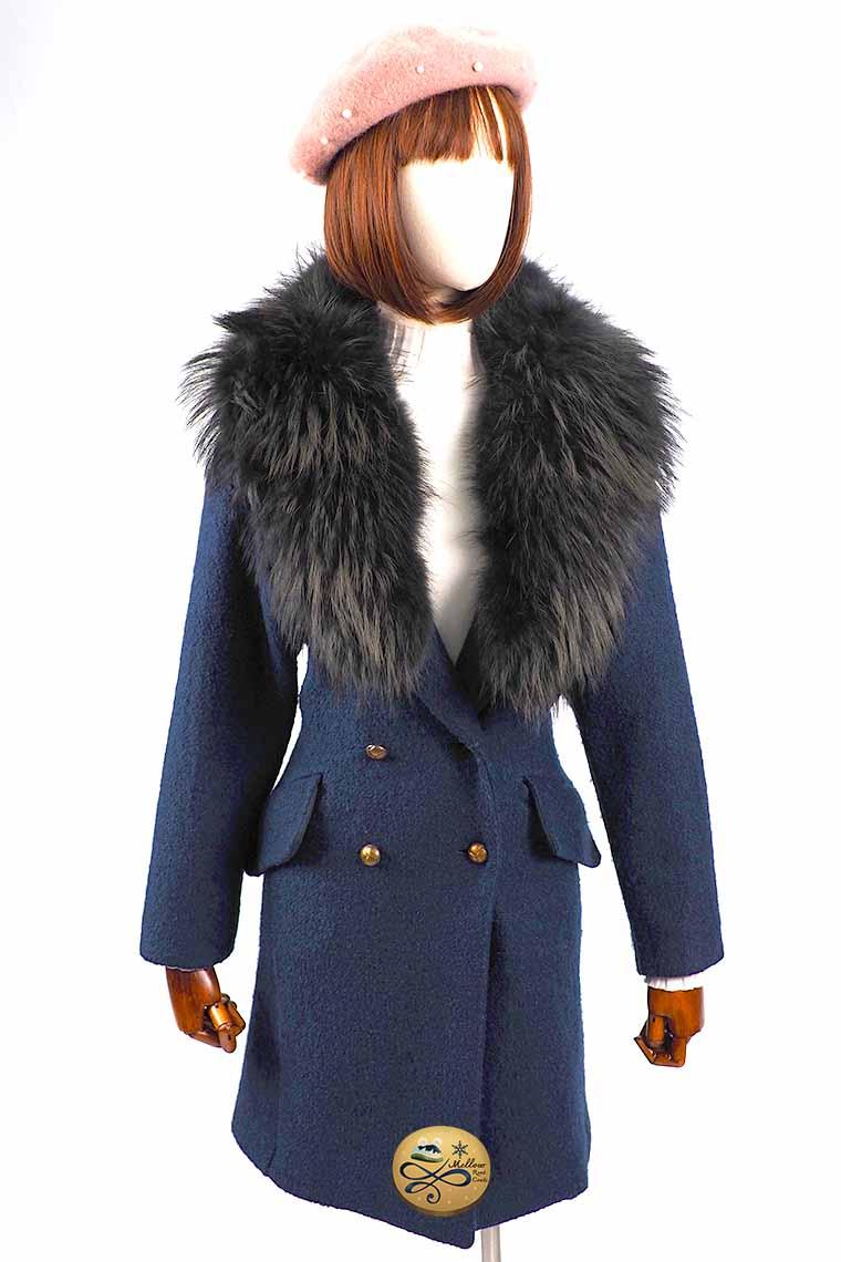 เช่าเสื้อโค้ทผู้หญิง รุ่น  Fur Royal Prussian Swing Double Breasted Coat 905GCL443FANAXL1