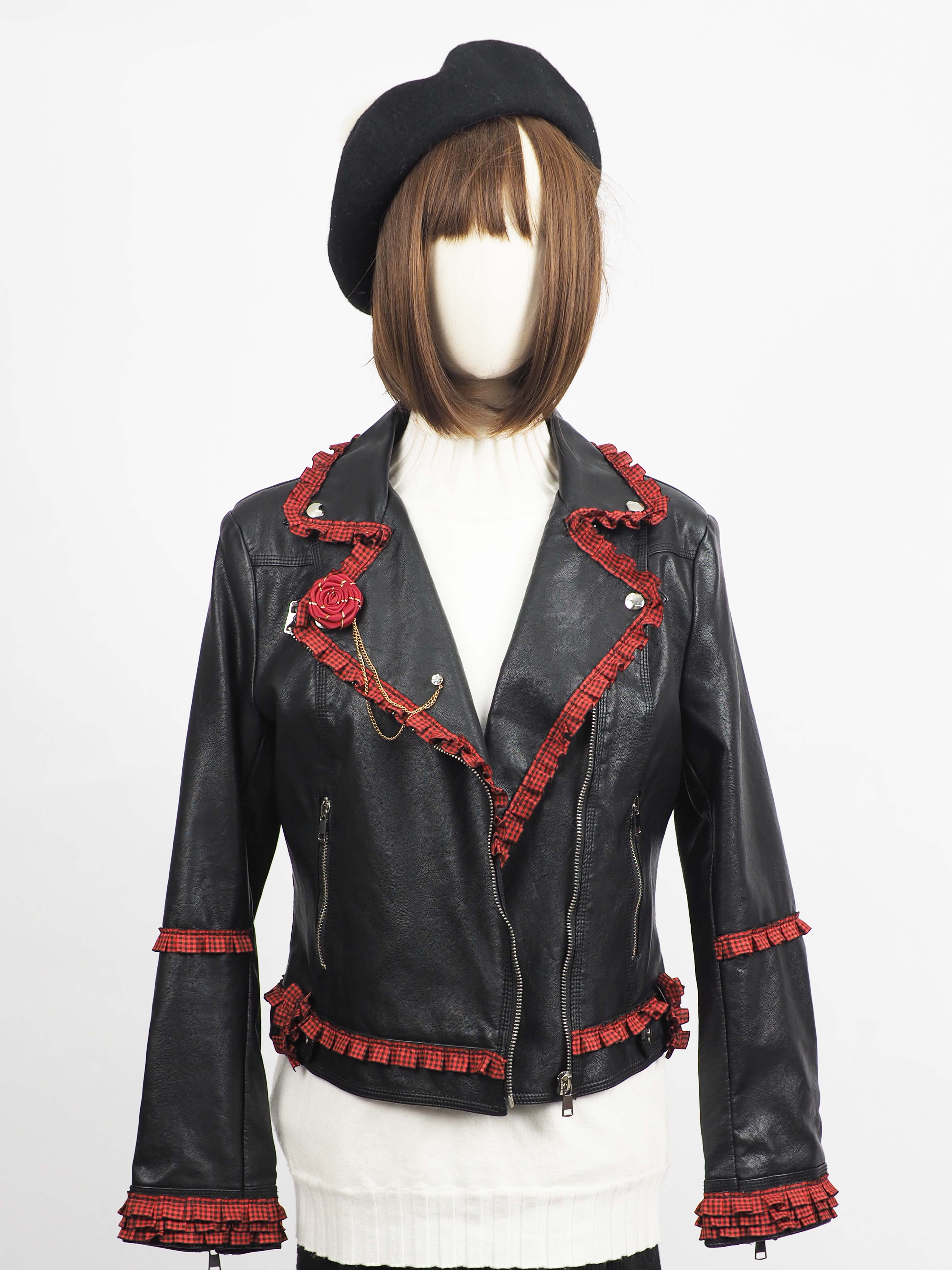 *** Limited Edition  เช่าแจ็คเก็ตหนัง  Raven Faux Leather Jacket	903GJP316FABKM1