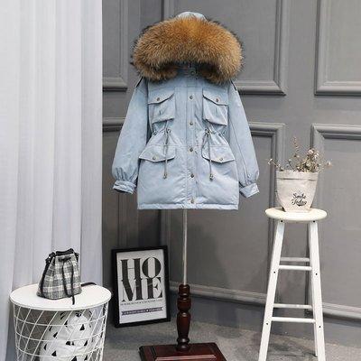 เช่าเสื้อขนเป็ดรุ่น   Carolina Fur Hooded Down Jacket 0909GCL516DSBL6XL1