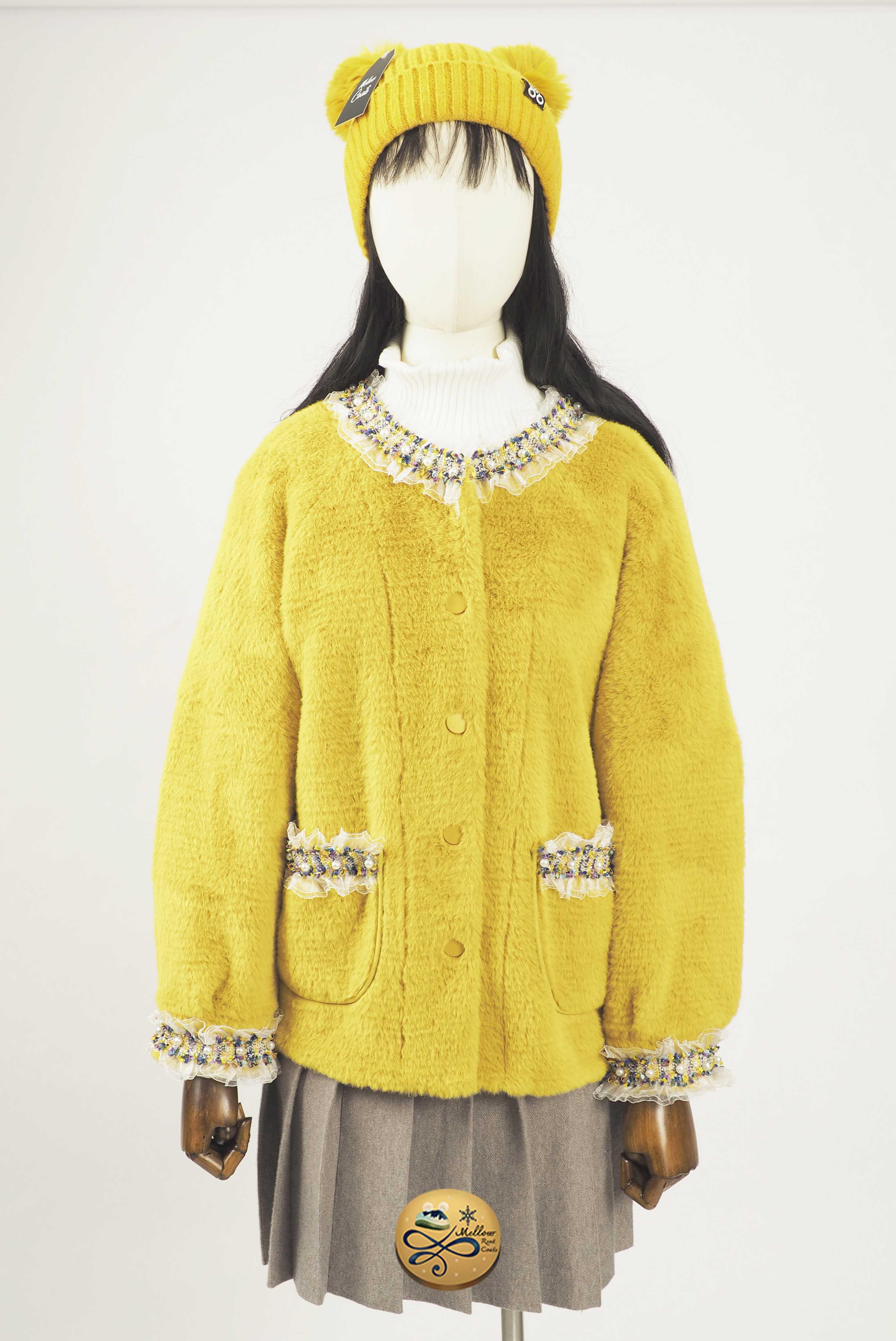 เช่าเสื้อโค้ทผู้หญิง  Limited Editon รุ่น  Faux Mink Fluffy Saffron Pea Jacket   902GCS276FAYE2XL2