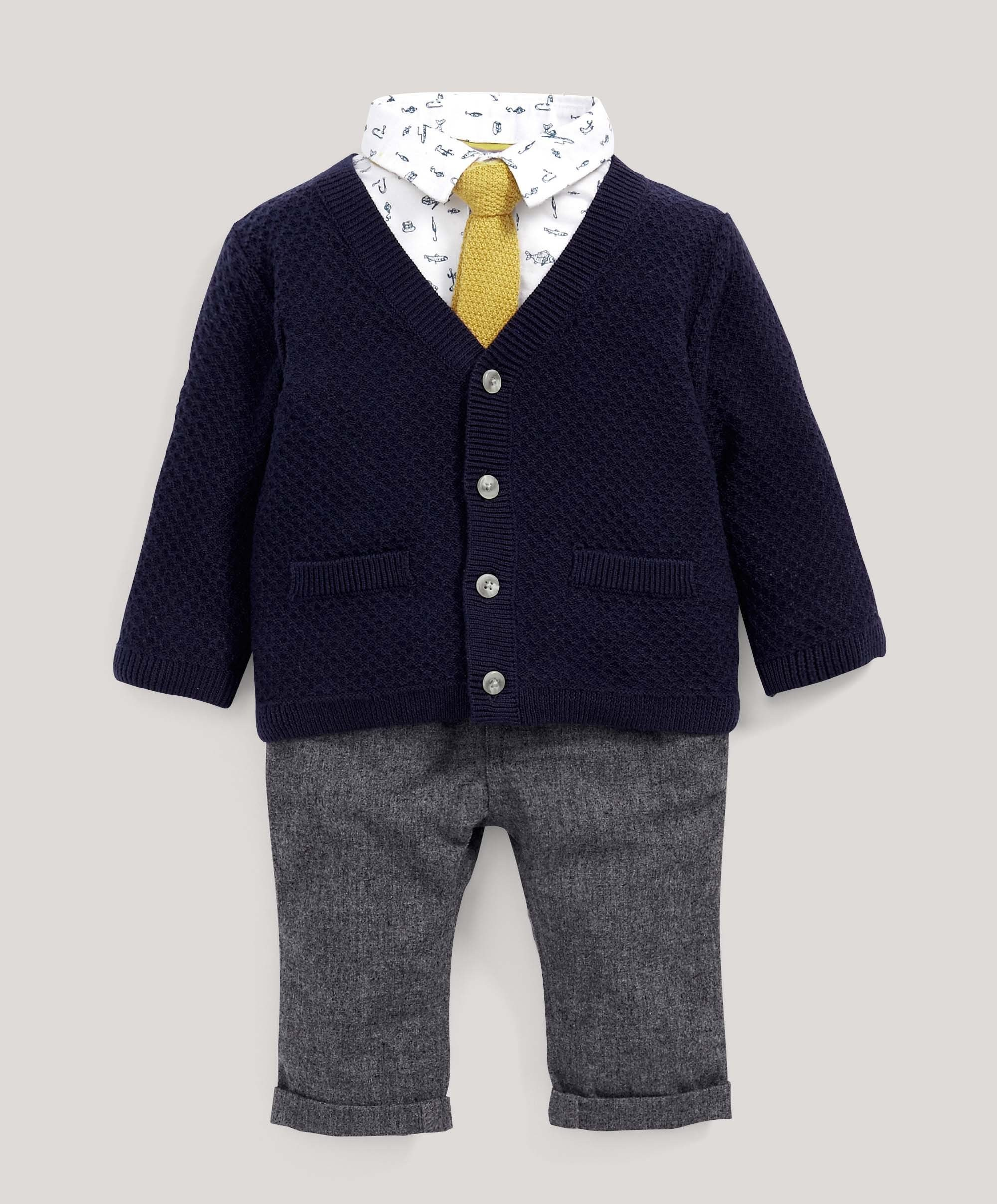 Cardigan, Shirt, Trousers & Tie Set