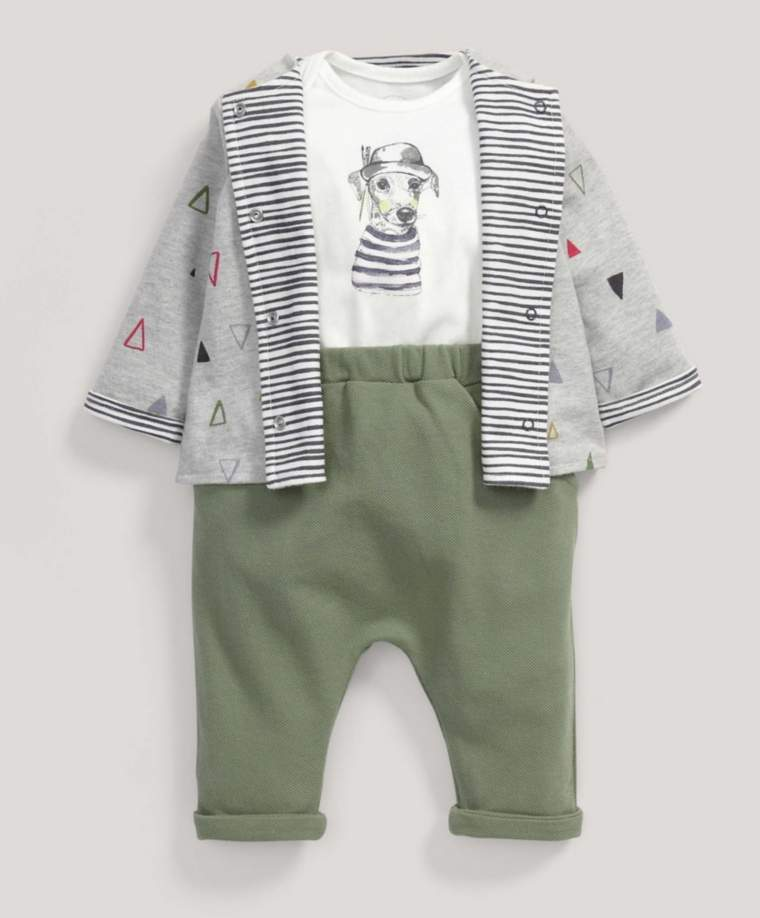 Painting Dog Quilted Jacket, Bodysuit and Trousers Set