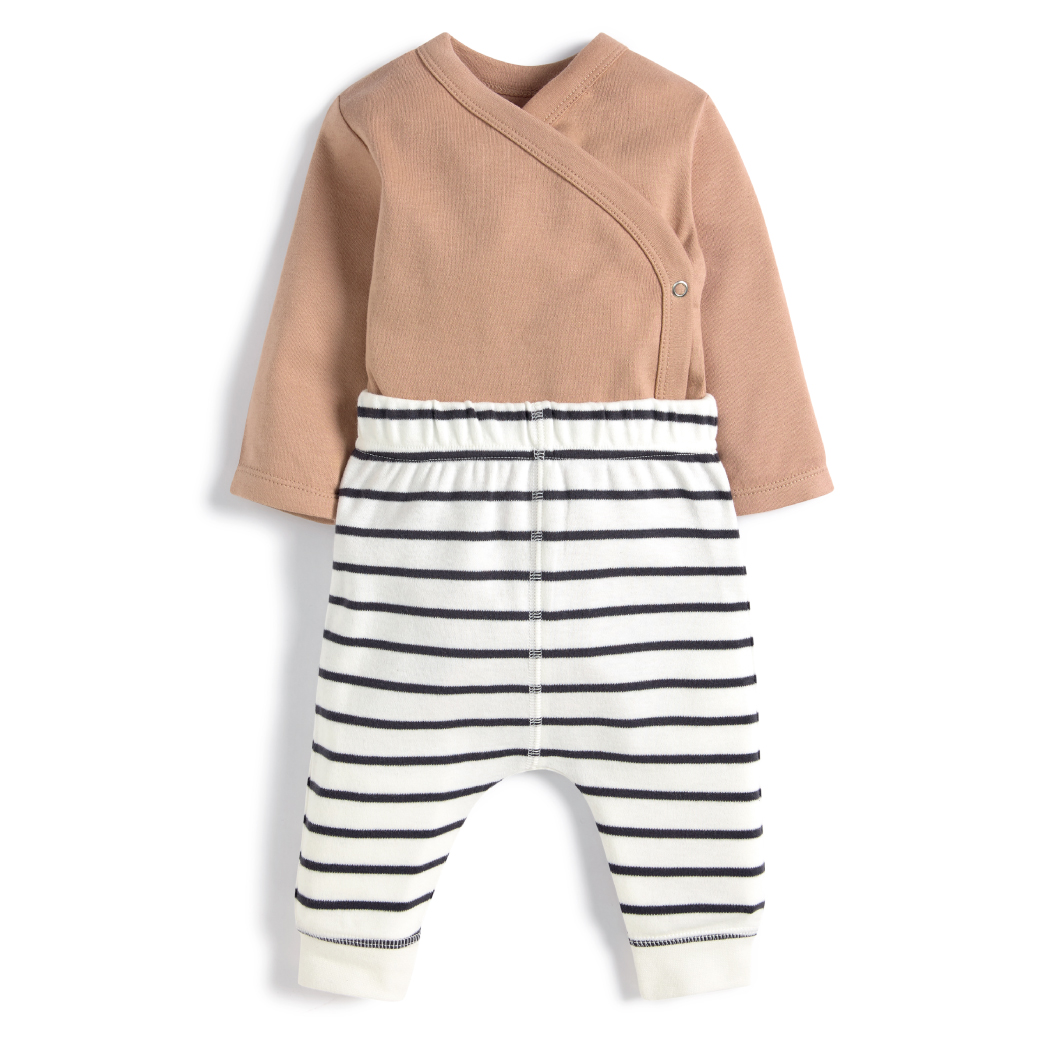 Striped Leggings & Wrap Bodysuit - 2 Piece Set