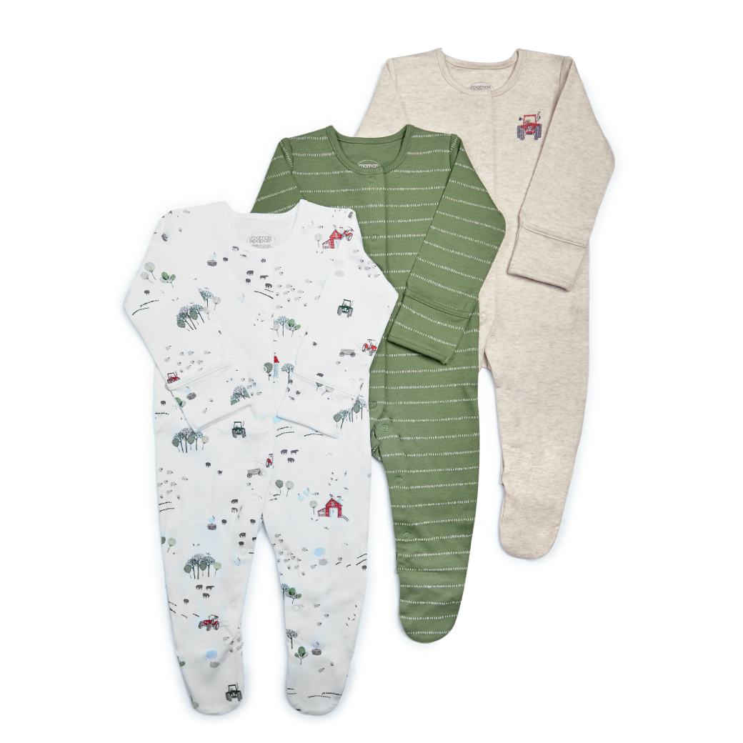 Tractor Jersey Sleepsuits - 3 Pack