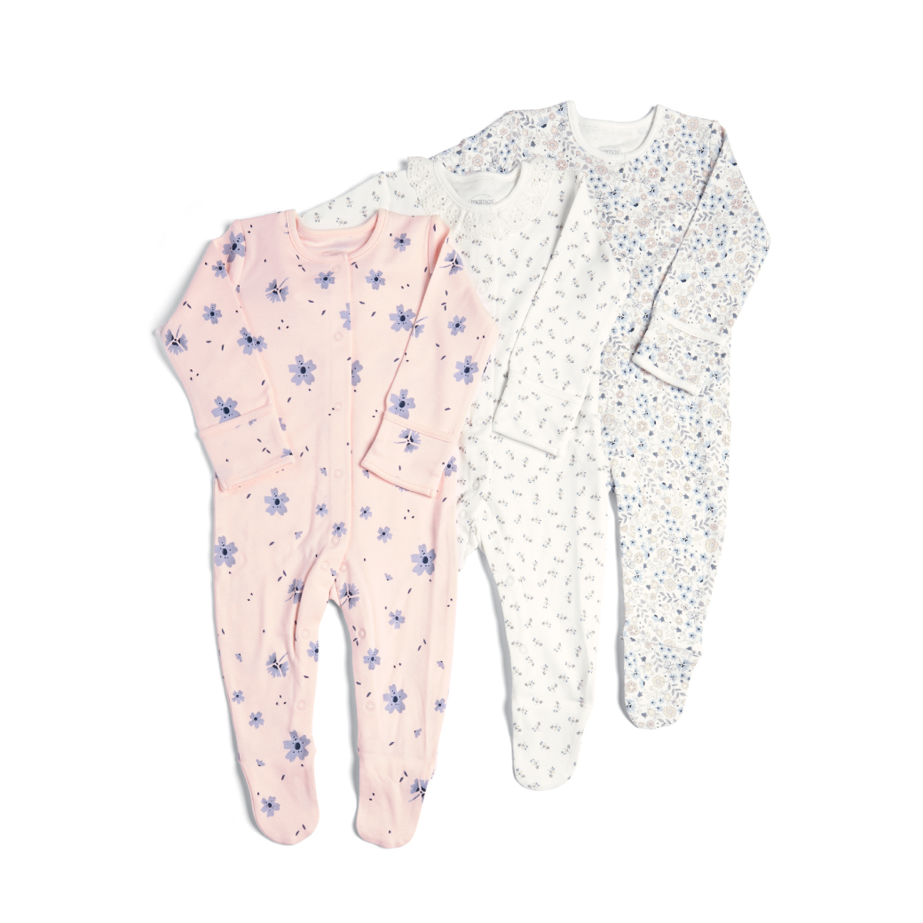 3 Pack Floral Sleepsuit