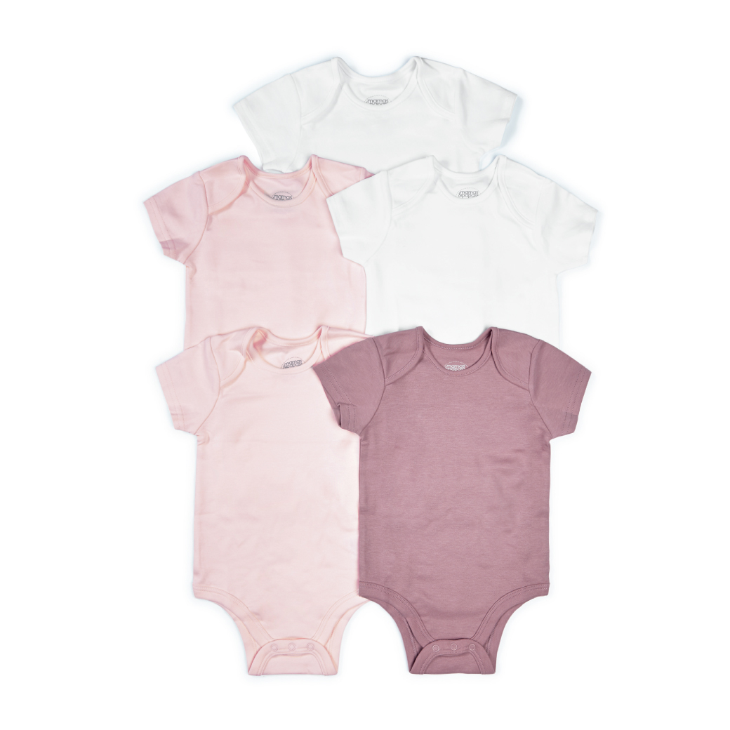 Pink Short Sleeve Cotton Bodysuits - 5 Pack (*รบกวนเช็ค SIZE / STOCK ที่ไลน์ :@mommories )