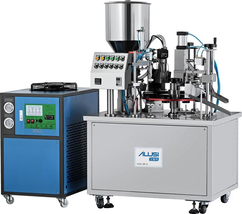 Semi auto plastic/laminated tube filling and sealing machine