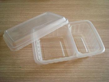 กล่องอาหาร  2 หลุม 550 กรัม PP ขาวใส