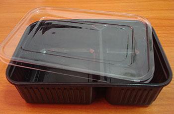 กล่องอาหาร 2 หลุม 650 กรัม PP สีดำ