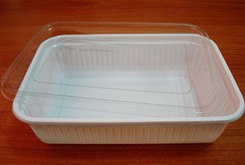 กล่องข้าวหลุมเดียว 650 กรัม PP ขาว