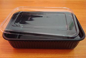 กล่องข้าวหลุมเดียว 650 กรัม PP ดำ