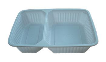 กล่องอาหาร 2 ช่อง PP 500 กรัม สีขาว