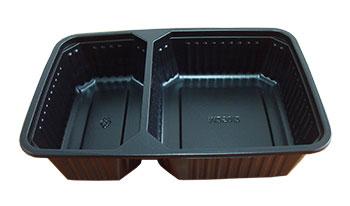 กล่องอาหาร 2 ช่อง PP 500 กรัม สีดำ