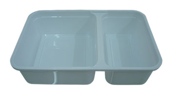 กล่องอาหาร 2 ช่อง 550 กรัม PP สีขาวนม