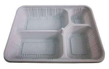 กล่องอาหารใหญ่  4 หลุม PS/PS
