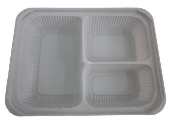 กล่องอาหารใหญ่ 3 หลุม PS