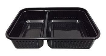 กล่องอาหาร 2 หลุม 500 กรัม PP สีดำ