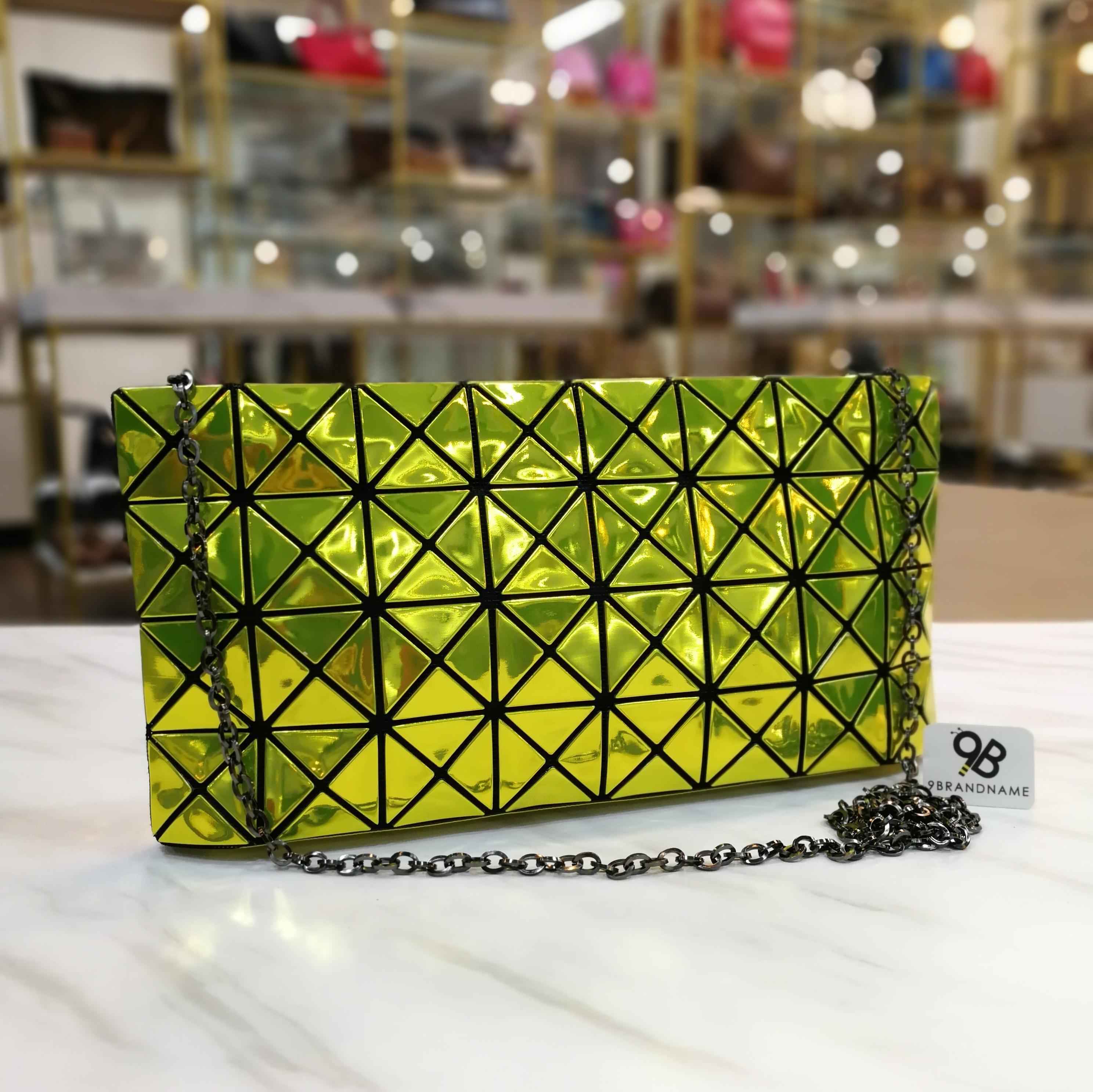 Issey Miyake Bao Bao Crossbody Chain 8x4 Platinum Green Yellow