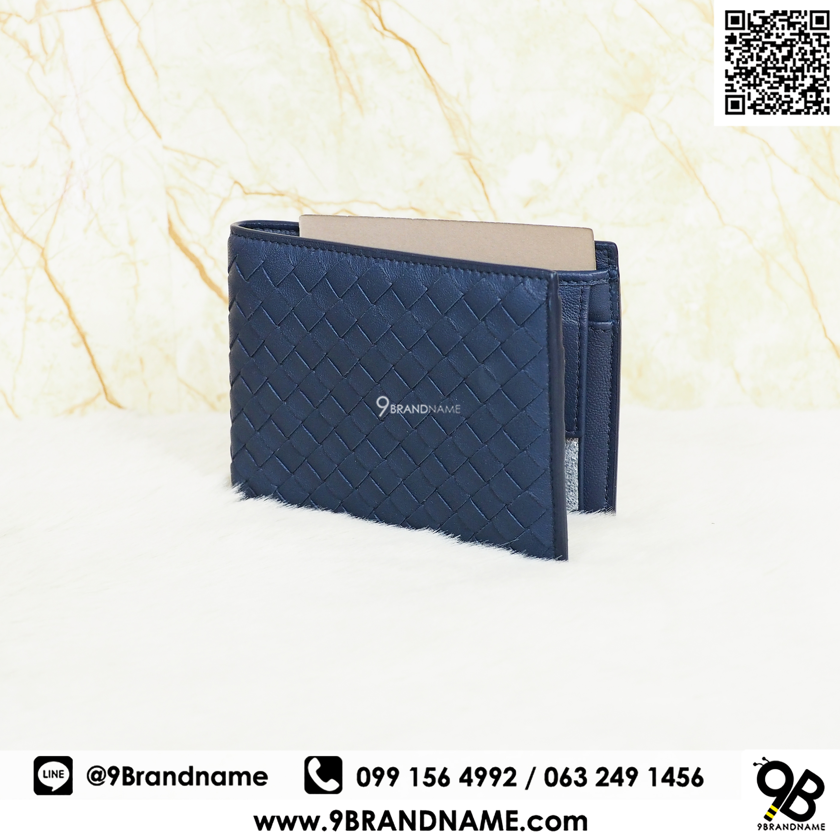 New Bottega Veneta Wallet Bi-Fold Whit Cions Purse Lamb Skin Blue Color