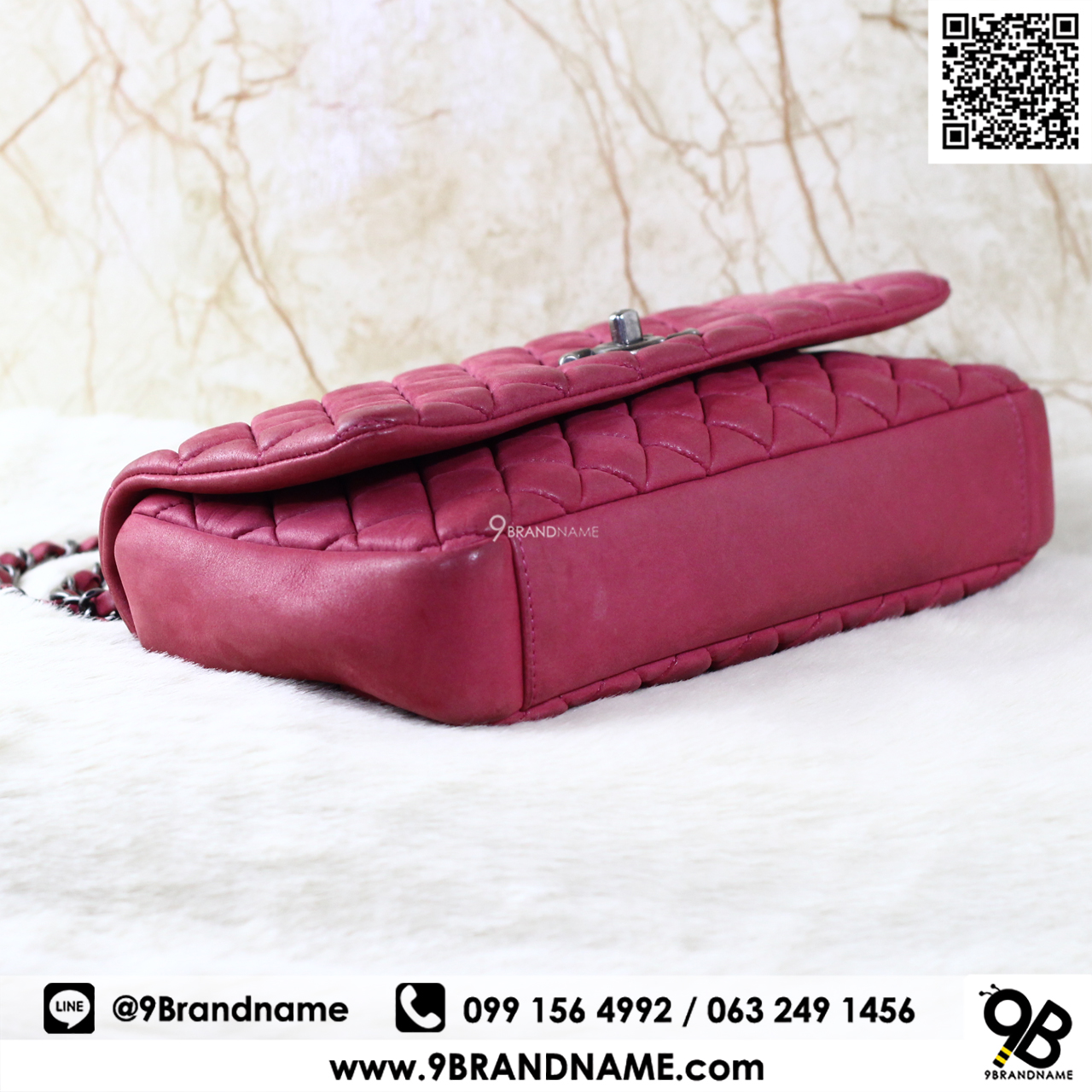 eb66d6ff890e Chanel Flap Bag Calfskin Suede Red SHW Size10 - 9brandname