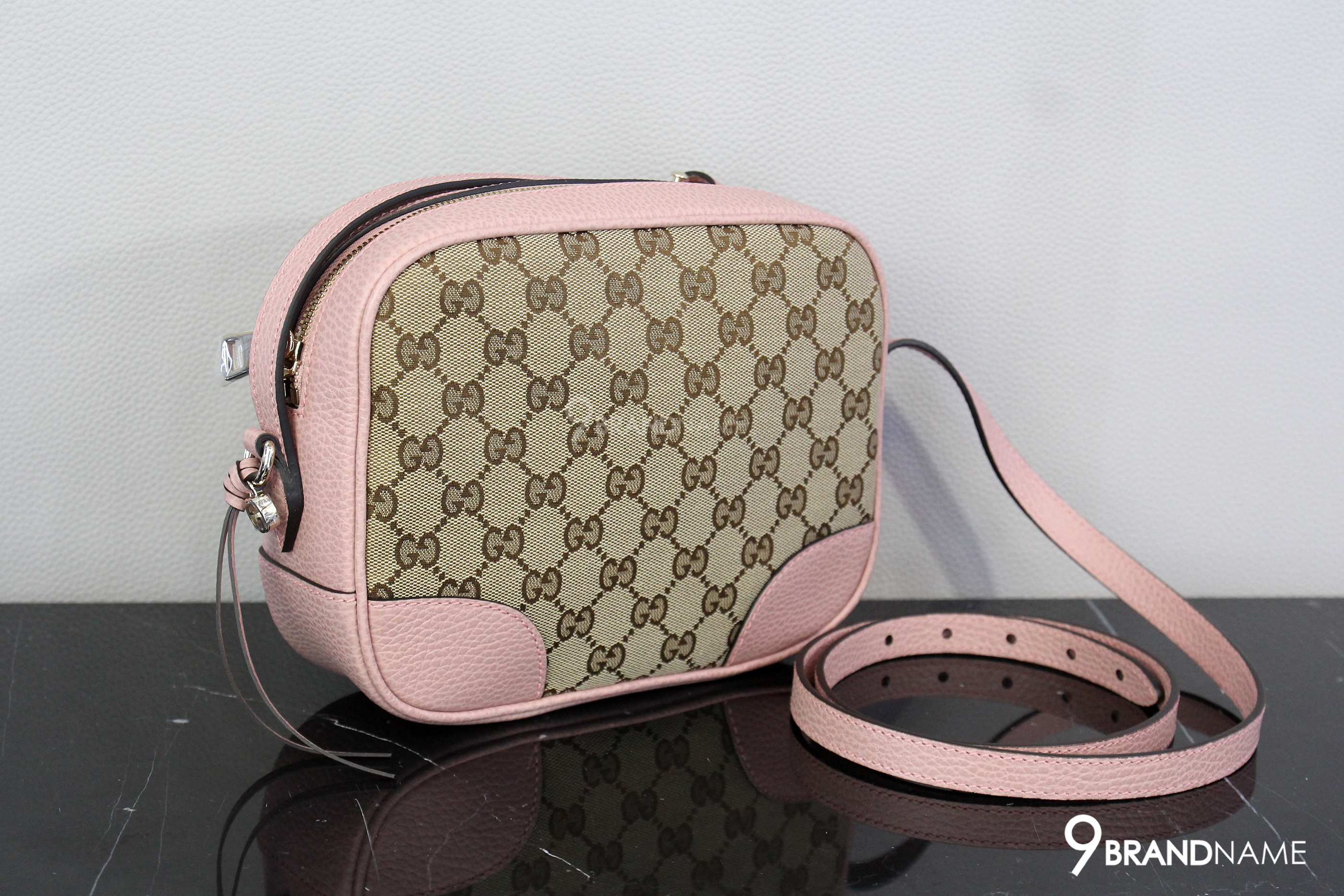 cute great discount sale retailer Gucci Bree Crossbody Bag Guccissima Canvas with light pink ...