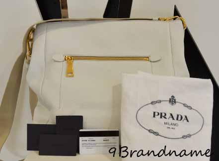 Prada Crossbody หนังสีขาว ทรงสะพายยาว ใบใหญ่ค่า ใหม่มากๆ