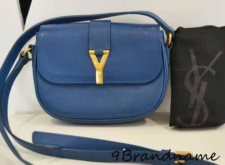 YSL Yves Saint Laurent Mini Chyc crossbody สีน้ำเงินอะไหล่ทอง สภาพดี น่ารักกค่าา