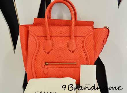 Celine Luggage หนังงูสีส้ม ไซส์ใหญ่ สีสด สวยมากค่า