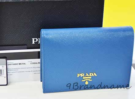 NEW-Prada Saffiano Wallet 3 พับ สี Cobalt Blue