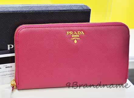 NEW-Prada saffiano Zippy Wallet สีชมพู Ibisco กระเป๋าตังยาวค์ทรงซิปรอบ
