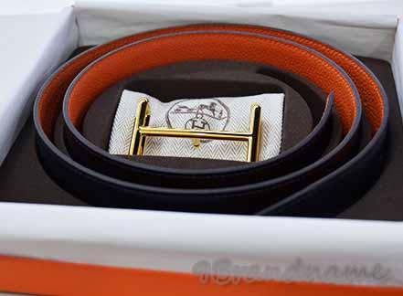 NEW Hermes Belt เข็มขัดหนังสีดำ- สัม ใส่ได้สองด้าน หัวไม้ขีดสีทองรุ่นใหมม
