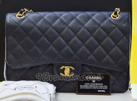 Chanel Classic Double Flap Black Caviar GHW 12