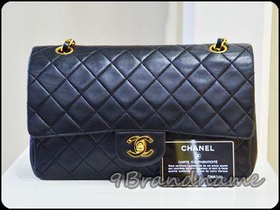 Chanel Classic Black Lambskin GHW size 10