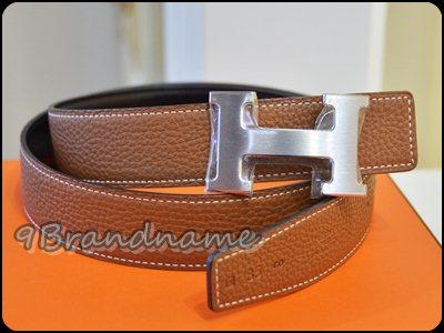 Hermes Reversible Belt Gold-Black size 85 PHW เข็มขัดใส่ได้ 2ด้าน น้ำตาลทอง และดำ หัว H เงิน มือสอง สภาพดีค่า