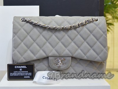 Chanel Classic Jumbo GRAY caviar 12