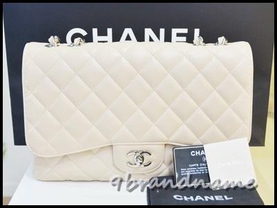 Chanel Classic Jumbo Light Beige Caviar SHW size 12 single flap กระเป๋าชาแนลจัมโบ้สีเบจอ่อน ใบใหญ่จุใจ ฝาเดียวใช้ง่ายน้ำหนักเบา มือสอง สภาพดีค่า
