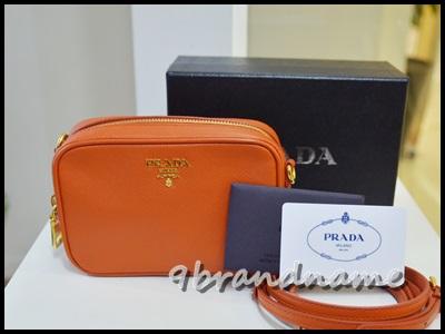 Prada mini box saffiano with strap orange papaya  กระเป๋าสะพาย crossbody ใบจิ๋ว ยอดฮิต ของพราด้า สีส้ม น่ารักกค่ะ
