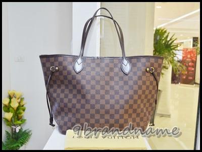 Louis Vuitton Neverfull Damier MM กระเป๋าทรง shopping tote ลายตารางสีน้ำตาล ไซส์กลาง ยอกนิยม มือสอง สภาพสวยค่า ไร้ตำหนิ