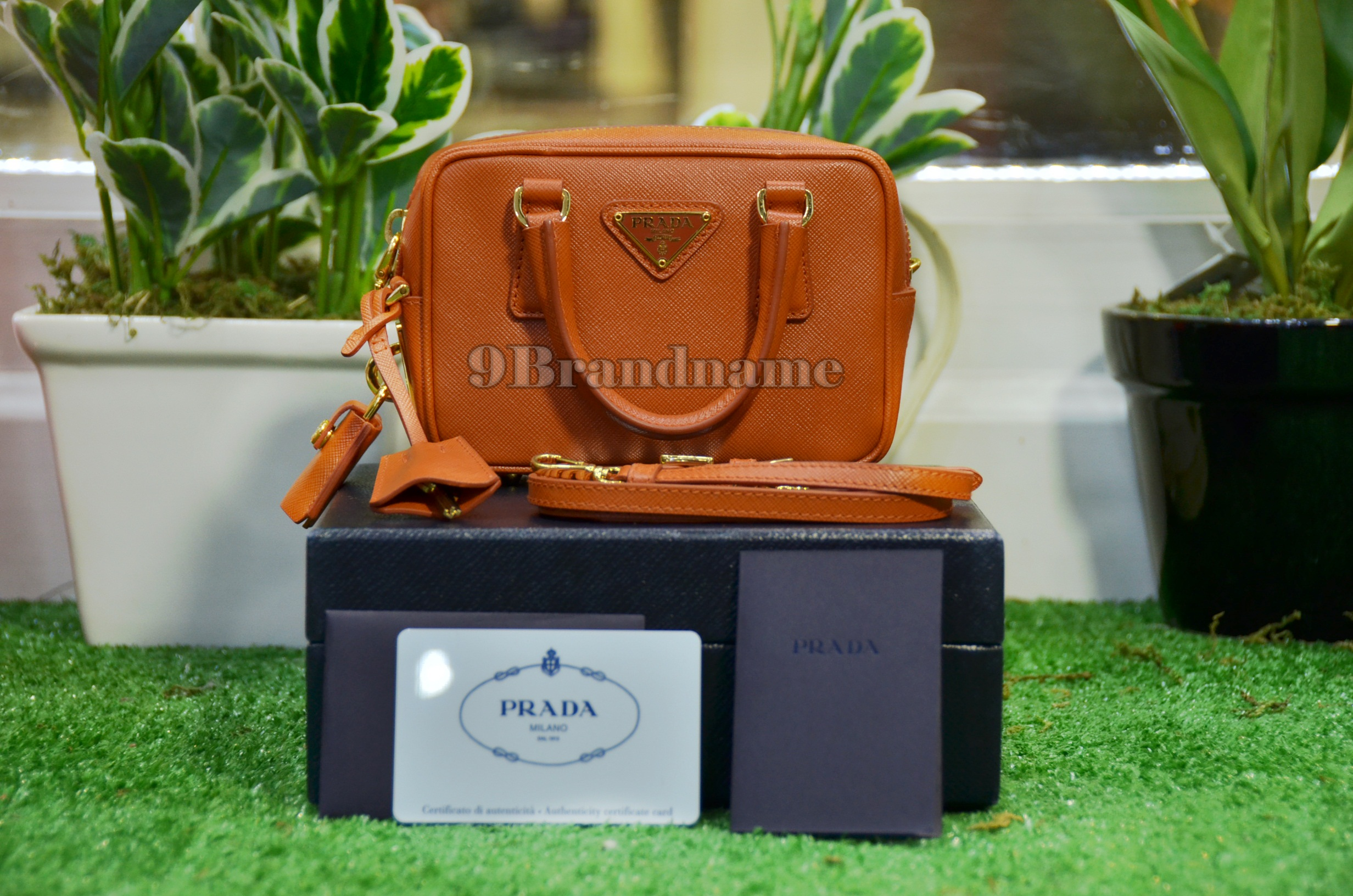 Prada Mini Box Papaya Orange - Used Authentic Bag